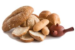 Various of Bread, french baguette. Isolated on white background Stock Photography