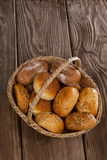Various bread loaves in basket Royalty Free Stock Photography
