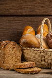 Various bread loaves in basket Royalty Free Stock Photo