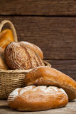 Various bread loaves in basket Royalty Free Stock Image
