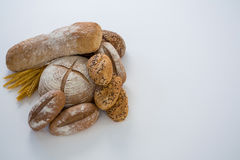 Various bread loaves. On white background royalty free stock photo