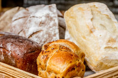 Various Bread and Sheaf of Wheat Stock Image
