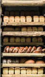 Various bread type on shelf. Bakery car royalty free stock photography