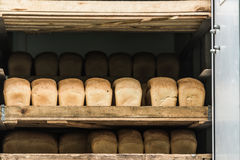 Various bread type on shelf. Bakery car royalty free stock photo