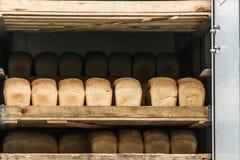 Various bread type on shelf. Bakery car Royalty Free Stock Photo
