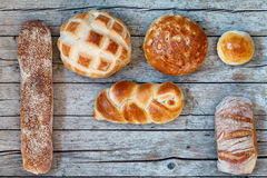 Various Bread Types On Wood Background Royalty Free Stock Images