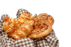 Various of bread in wicker basket Stock Photos