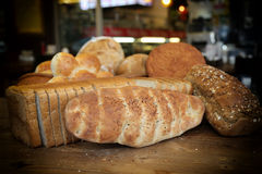 Various breads. Bakery and various bread types stock photo