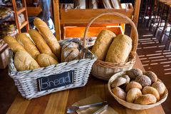 Various breads on display counter Royalty Free Stock Image