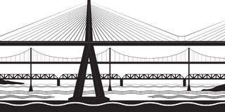 Various bridges cross the river. Vector illustration vector illustration