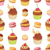 Various bright colorful chocolate desserts . Seamless vector pattern on white background. Various cute bright colorful chocolate desserts cupcakes, profiteroles Stock Photos