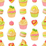 Various bright colorful fruit desserts. Seamless vector pattern on white background. Various cute bright colorful fruit desserts cupcakes, meringues, tarts and Royalty Free Stock Images