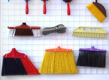 Various Brooms and Brushes Royalty Free Stock Photos