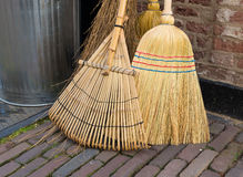 Various brooms for sweeping Stock Photos
