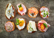 Various Bruschettas Royalty Free Stock Images