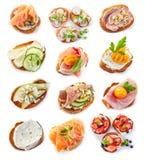 Various bruschettas Stock Photography