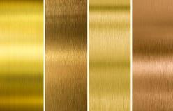Various brushed gold and bronze metal textures set stock photography
