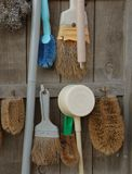 Various brushes and scrubbers. Hanging on wooden plank wall Royalty Free Stock Photos