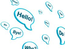 Various bubbles of dialogue. Various blue bubbles of good dialogue royalty free illustration