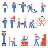 Various Building and Demolition Character Icons. Various Blue and Red Building and Demolition Construction Character Icons Stock Photography