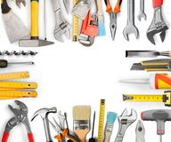Various Building tools isolated on white Royalty Free Stock Photography