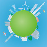 Various building and transportation on the earth Stock Photos