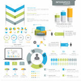 Various business infographics elements. Various business infographics elements including 3D pie chart, annual statistical bars and graphs for corporate purpose Royalty Free Stock Images