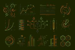 Various business infographics isolated set. Various business infographics set isolated on black background. Abstract data visualization, commercial business Royalty Free Stock Images