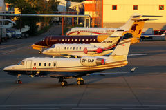 Various business jets standing at Sheremetyevo international airport. Royalty Free Stock Images