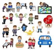 Various Business, Love and Technology Cartoon Graphics Royalty Free Stock Images
