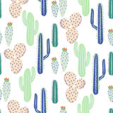 Various cacti desert vector seamless pattern. Abstract thorny plants nature fabric print. Stock Photography