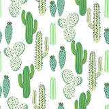 Various cacti desert vector seamless pattern. Abstract thorny plants nature fabric print. Royalty Free Stock Photography
