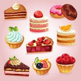 Various food icon set made from strawberry. Various cake and food made by strawberry icon set. additional file in eps 10 file Royalty Free Stock Image