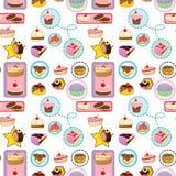 Various cakes. Illustration of various cakes on a white background - seamless Royalty Free Stock Photo