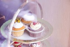 Various cakes on a beautiful stand stock image