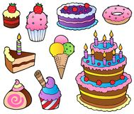 Various cakes collection 1. Vector illustration Stock Photos