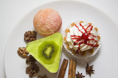 Various cakes. On large plate Royalty Free Stock Photography