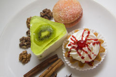 Various cakes. On large plate Royalty Free Stock Image