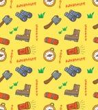 Various camping tools seamless pattern royalty free illustration