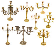 Various candle holders and candlesticks. Set with various candle holders and candlesticks isolated on white Royalty Free Stock Photo