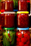 Various canned vegetables and jam Royalty Free Stock Image