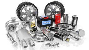 Various car parts and accessories Stock Photography