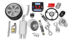 Various car parts and accessories Stock Image