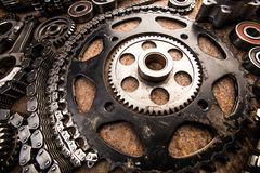 Various car parts and accessories, on metal  background - Image royalty free stock image