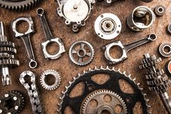 Various car parts and accessories, on metal  background - Image stock image