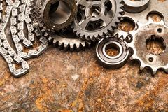 Various car parts and accessories, on metal  background - Image royalty free stock photo
