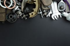 Various Car parts and tools royalty free stock photography