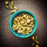 Various Cardamom Spices in Authentic Turkish Bowl Royalty Free Stock Image