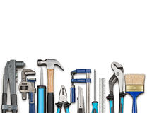 Various carpentry and DIY tools. Various carpentry, repairing, DIY tools on white background Stock Photo