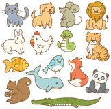 Various cartoon animals royalty free illustration